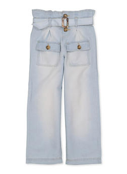 Girls 4-6x Paper Bag Waist Chambray Pants - 1601038340030