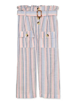 Girls 4-6x Paper Bag Waist Striped Linen Pants - 1601038340032