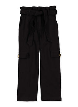 Girls 4-6x Paper Bag Waist Cargo Pants - 1601038340033