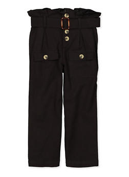 Girls 4-6x Paper Bag Waist Linen Pants - 1601038340034