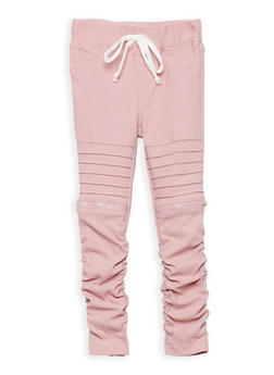 Girls 4-6x Ruched Jeggings with Zipper Detail - 1601056570018