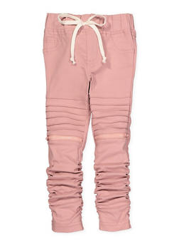 Girls 4-6x Ruched Hyperstretch Moto Jeggings | Pink - 1601056570035