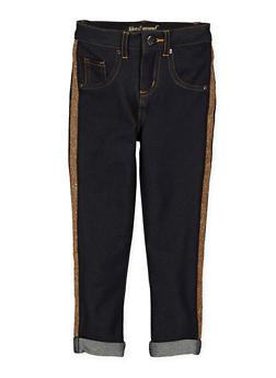 Girls 4-6x Shimmer Knit Tape Jeggings - 1601056570045