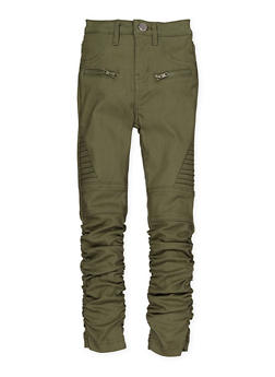 Girls 4-6x Hyperstretch Moto Jeggings | Olive - 1601056570051