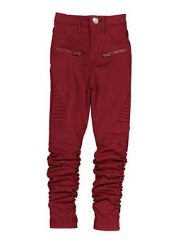 Girls 4-6x Ruched Hyperstretch Moto Jeggings | Burgundy - 1601056570053