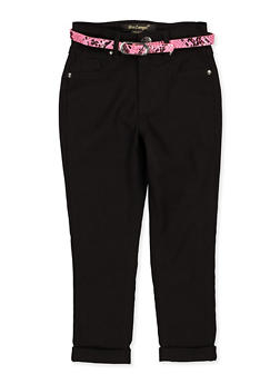 Girls 4-6x Fixed Cuff Belted Hyperstretch Pants - 1601056570079