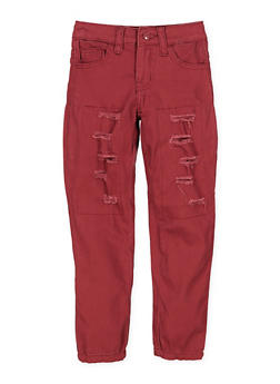 Girls 4-6x Frayed Patch and Repair Twill Pants - 1601056720016