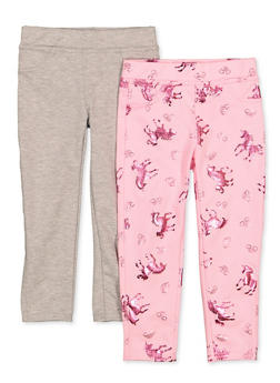 Girls 4-6x 2 Pack Foil Horse Print and Solid Leggings - 1601061950023