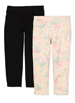 Girls 4-6x 2 Pack Floral and Solid Leggings - 1601061950024