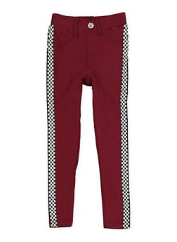 Girls 4-6x Checkered Tape Hyperstretch Jeggings | Burgundy - 1601063400006