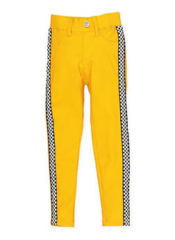 Girls 4-6x Checkered Tape Hyperstretch Jeggings | Yellow - 1601063400008