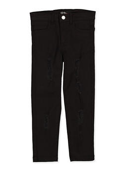 Girls 4-6x Black Distressed Twill Pants - 1601073990020