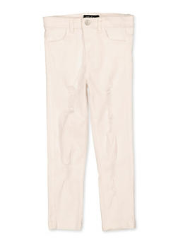 Girls 4-6x White Distressed Twill Pants - 1601073990022