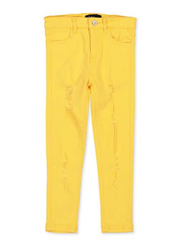 Girls 4-6x Yellow Distressed Twill Pants - 1601073990023