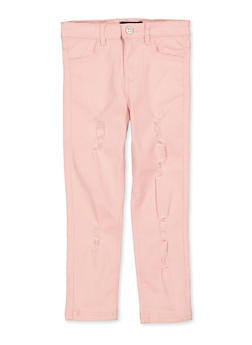 Girls 4-6x Pink Distressed Twill Pants - 1601073990024