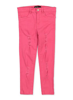 Girls 4-6x Fuchsia Distressed Twill Pants - 1601073990025