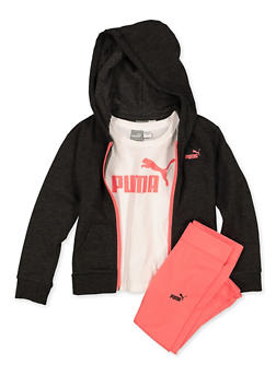Girls 4-6x Puma Tee with Zip Sweatshirt and Leggings Set - 1601075230010