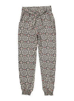 Girls 7-16 Printed Tie Front Joggers - 1602023130011