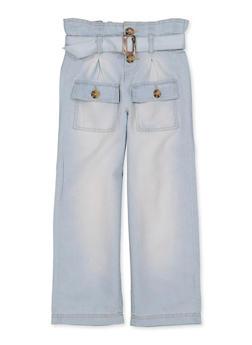 Girls 7-16 Paper Bag Waist Chambray Pants - 1602038340015