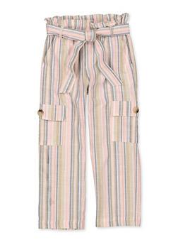 Girls 7-16 Striped Tie Waist Pants - 1602038340017
