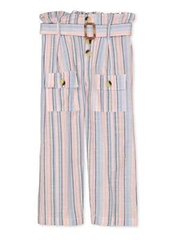 Girls 7-16 Paper Bag Waist Striped Linen Pants - 1602038340018