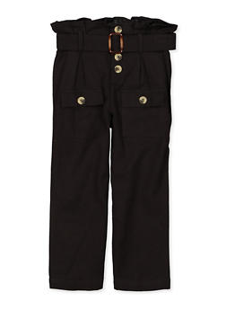 Girls 5-16 Paper Bag Waist Linen Pants - 1602038340020