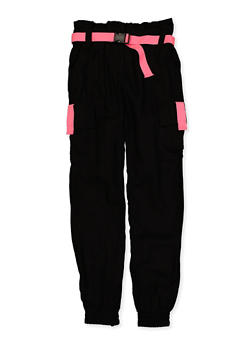 Girls 7-16 Buckle Belt Cargo Joggers - 1602051060035