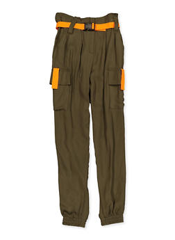 Girls 7-16 Contrast Trim Belted Cargo Joggers - 1602051060036
