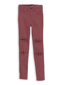 Girls 7-16 Lace Up Front Jeggings - 1602056570049