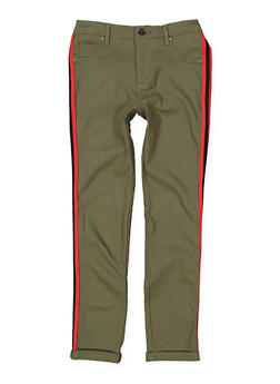 Girls 7-16 Striped Tape Trim Hyperstretch Pants - 1602056570056