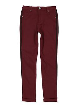Girls 7-16 Striped Tape Trim Hyperstretch Pants - 1602056570057