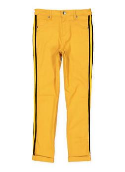 Girls 7-16 Striped Tape Trim Hyperstretch Pants - 1602056570058
