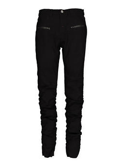 Girls 7-16 Ruched Hyperstretch Moto Pants - 1602056570075