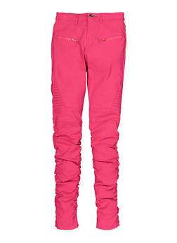 Girls 7-16 Ruched Hyperstretch Moto Pants - 1602056570077