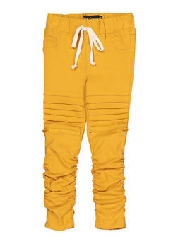 Girls 7-16 Ruched Hyperstretch Moto Jeggings | Mustard - 1602056570082