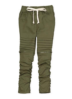 Girls 7-16 Ruched Hyperstretch Moto Jeggings | Olive - 1602056570083
