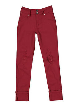 Girls 7-16 Distressed Hyperstretch Jeggings | Red - 1602056570096
