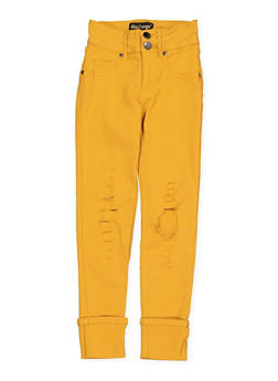 Girls 7-16 Distressed Hyperstretch Jeggings | Mustard - 1602056570098