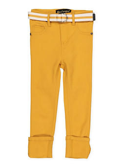 Girls 7-16 Belted Hyperstretch Pants | Mustard - 1602056570117