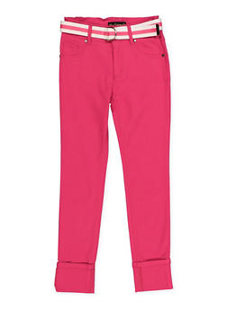 Girls 7-16 Belted Hyperstretch Pants | Fuchsia - 1602056570118