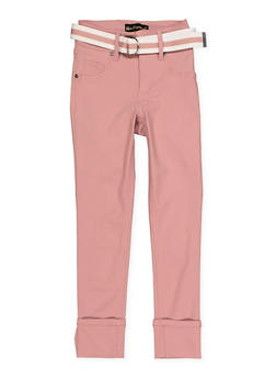 Girls 7-16 Belted Hyperstretch Pants | Rose - 1602056570119