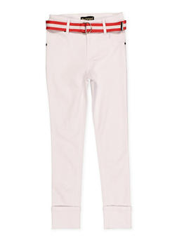 Girls 7-16 Belted Hyperstretch Pants | White - 1602056570120