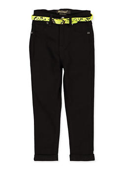 Girls 7-16 Fixed Cuff Belted Hyperstretch Pants - 1602056570131