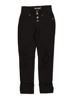 Girls 7-16 4 Button Hyperstretch Jeggings - 1602056570133