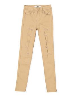 Girls 7-16 Khaki Rip and Repair Twill Pants - 1602056720026