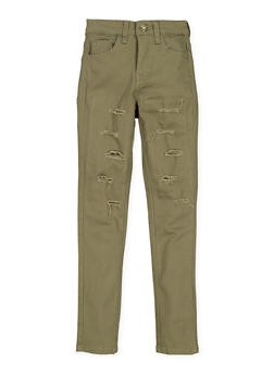Girls 7-16 Twill Patch and Repair Pants - 1602056720028
