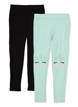 Girls 7-16 Set of 2 Solid and Unicorn Casual Pants - 1602061950026