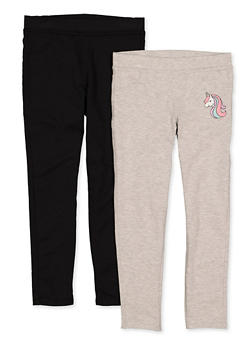 Girls 7-16 Embroidered Unicorn and Solid Pants - 1602061950028