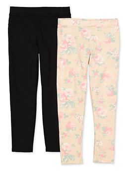 Girls 7-16 Set of 2 Floral and Solid Casual Pants - 1602061950029