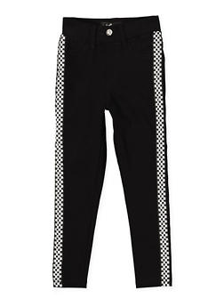 Girls 7-16 Checkered Tape Hyperstretch Jeggings | Black - 1602063400080